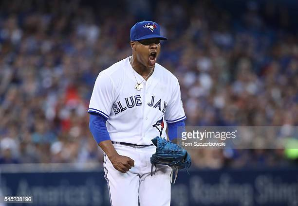 Marcus Stroman of the Toronto Blue Jays celebrates after getting the last out of the sixth inning during MLB game action against the Kansas City...