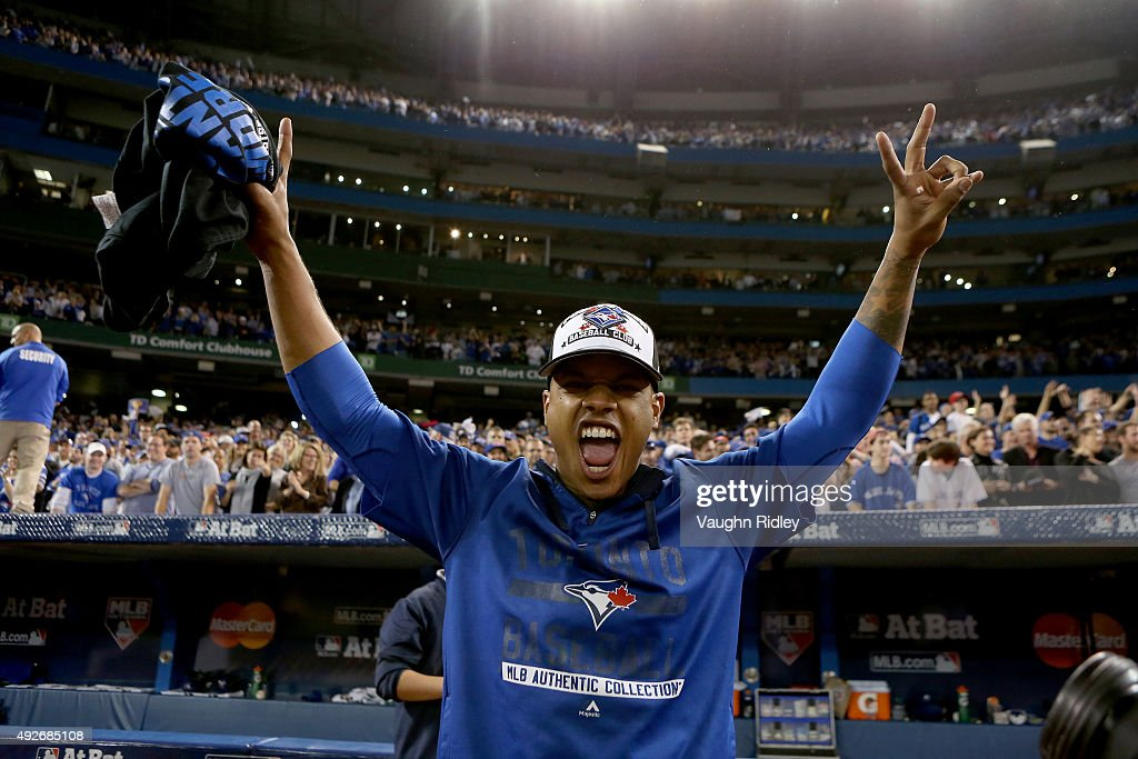 Marcus Stroman #6 of the Toronto Blue Jays celebrates after the Blue Jays defeat the Texas Rangers 6-3 in game five of the American League Division Series at Rogers Centre on October 14, 2015 in Toronto, Canada.