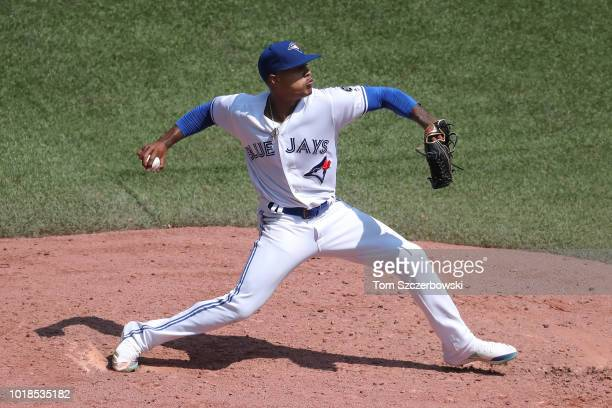 Marcus Stroman of the Toronto Blue Jays delivers a pitch in the fifth inning during MLB game action against the Tampa Bay Rays at Rogers Centre on...