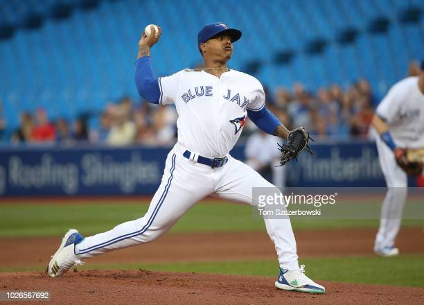 Marcus Stroman of the Toronto Blue Jays delivers a pitch in the first inning during MLB game action against the Tampa Bay Rays at Rogers Centre on...