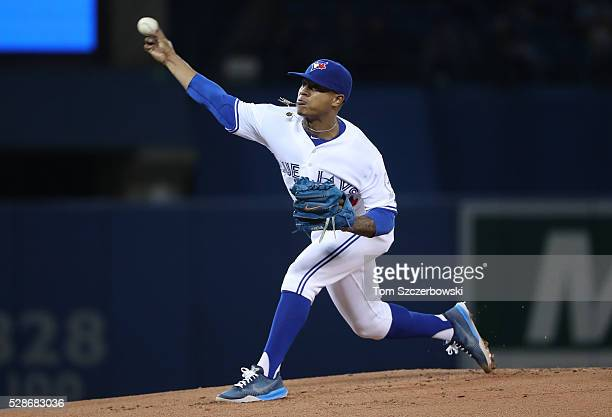 Marcus Stroman of the Toronto Blue Jays delivers a pitch in the first inning during MLB game action against the Los Angeles Dodgers on May 6 2016 at...