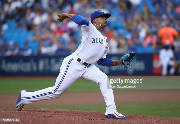 Marcus Stroman of the Toronto Blue Jays delivers a pitch in the first inning during MLB game action against the San Diego Padres on July 26 2016 at...