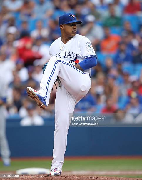 Marcus Stroman of the Toronto Blue Jays delivers a pitch in the first inning during MLB game action against the Kansas City Royals on July 6 2016 at...