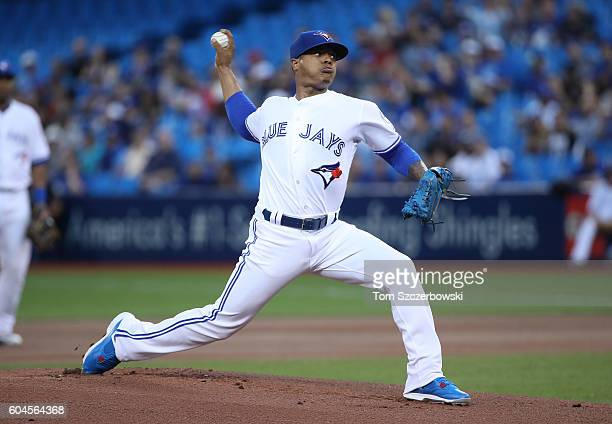 Marcus Stroman of the Toronto Blue Jays delivers a pitch in the first inning during MLB game action against the Tampa Bay Rays on September 13 2016...