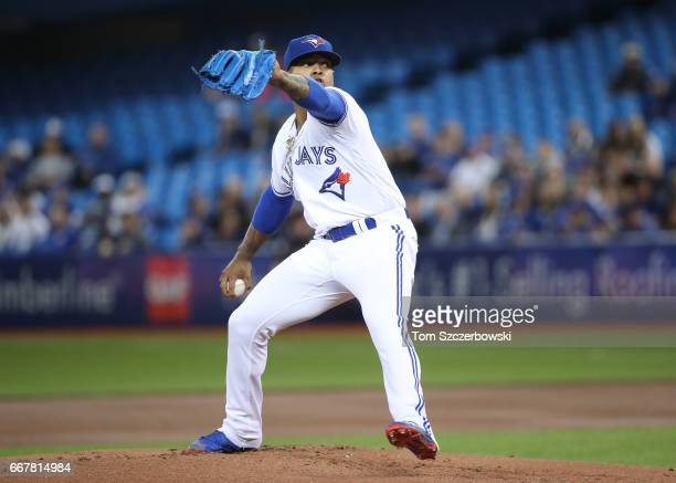 Marcus Stroman of the Toronto Blue Jays delivers a pitch in the first inning during MLB game action against the Milwaukee Brewers at Rogers Centre on...