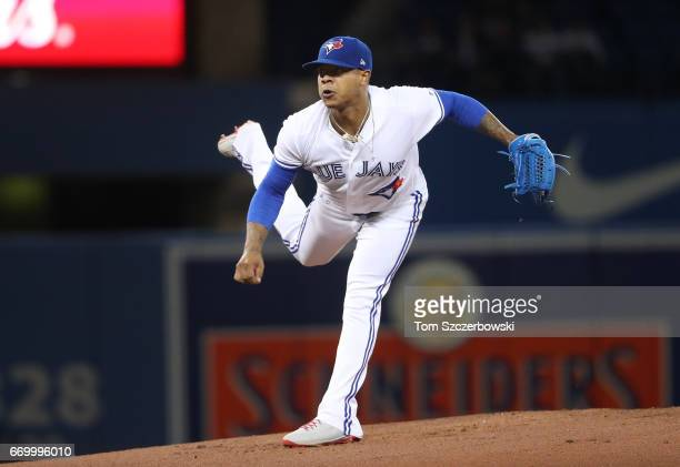 Marcus Stroman of the Toronto Blue Jays delivers a pitch in the first inning during MLB game action against the Boston Red Sox at Rogers Centre on...