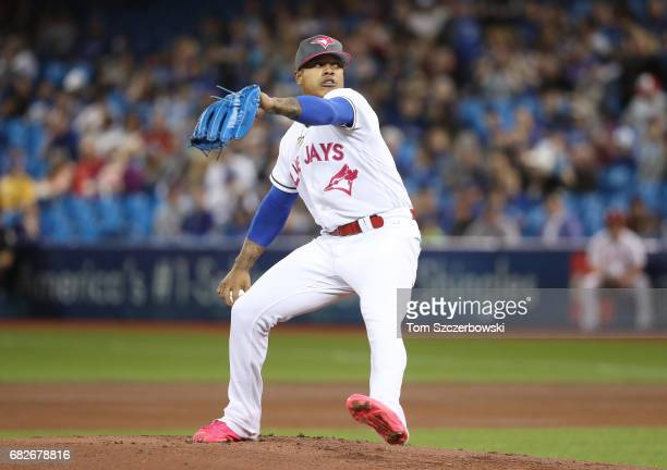 Marcus Stroman of the Toronto Blue Jays delivers a pitch in the first inning during MLB game action against the Seattle Mariners at Rogers Centre on...