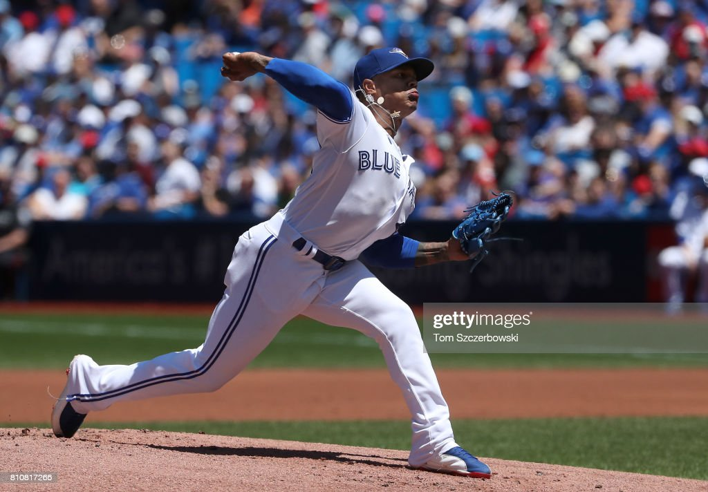Marcus Stroman #6 of the Toronto Blue Jays delivers a pitch in the first inning during MLB game action against the Houston Astros at Rogers Centre on July 8, 2017 in Toronto, Canada.