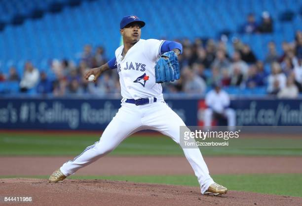 Marcus Stroman of the Toronto Blue Jays delivers a pitch in the first inning during MLB game action against the Detroit Tigers at Rogers Centre on...