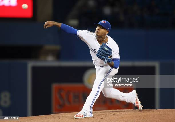 Marcus Stroman of the Toronto Blue Jays delivers a pitch in the first inning during MLB game action against the New York Yankees at Rogers Centre on...
