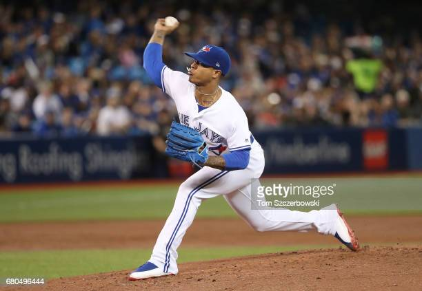 Marcus Stroman of the Toronto Blue Jays delivers a pitch in the second inning during MLB game action against the Cleveland Indians at Rogers Centre...