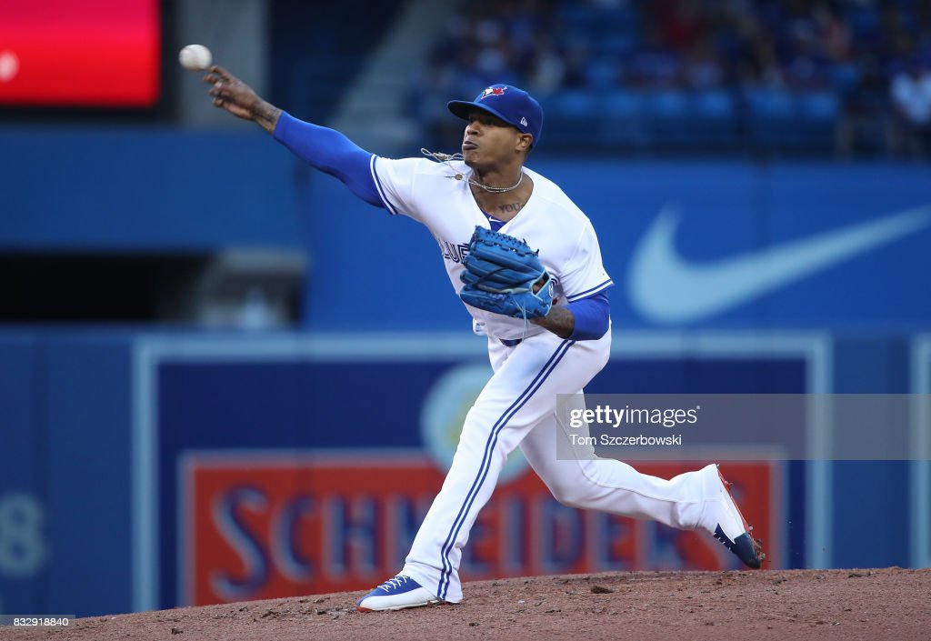 Marcus Stroman #6 of the Toronto Blue Jays delivers a pitch in the second inning during MLB game action against the Tampa Bay Rays at Rogers Centre on August 16, 2017 in Toronto, Canada.