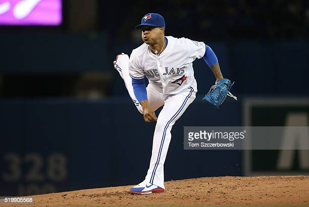 Marcus Stroman of the Toronto Blue Jays delivers a pitch in the third inning during MLB game action against the Boston Red Sox on April 8 2016 at...