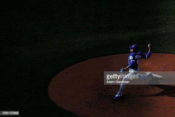 Marcus Stroman of the Toronto Blue Jays delivers in the fifth inning during the game against the Boston Red Sox at Fenway Park on June 4 2016 in...
