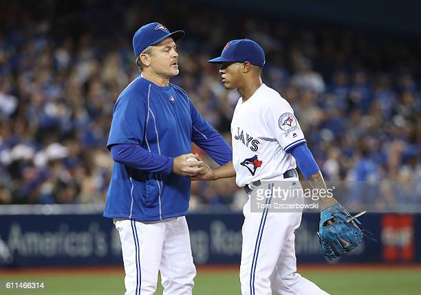 Marcus Stroman of the Toronto Blue Jays exits the game as he is relieved by manager John Gibbons in the eighth inning during MLB game action against...