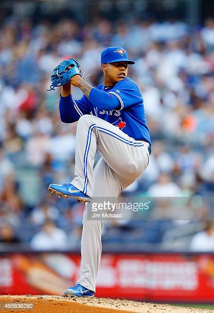 Marcus Stroman of the Toronto Blue Jays in action against the New York Yankees at Yankee Stadium on September 20 2014 in the Bronx borough of New...