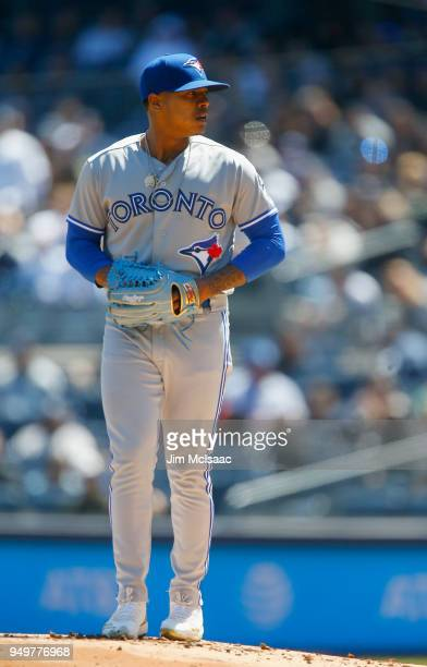 Marcus Stroman of the Toronto Blue Jays in action against the New York Yankees at Yankee Stadium on April 21 2018 in the Bronx borough of New York...