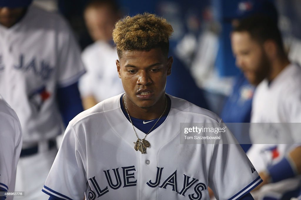 Marcus Stroman #6 of the Toronto Blue Jays in the dugout after the third inning during MLB game action against the Boston Red Sox on September 18, 2015 at Rogers Centre in Toronto, Ontario, Canada.