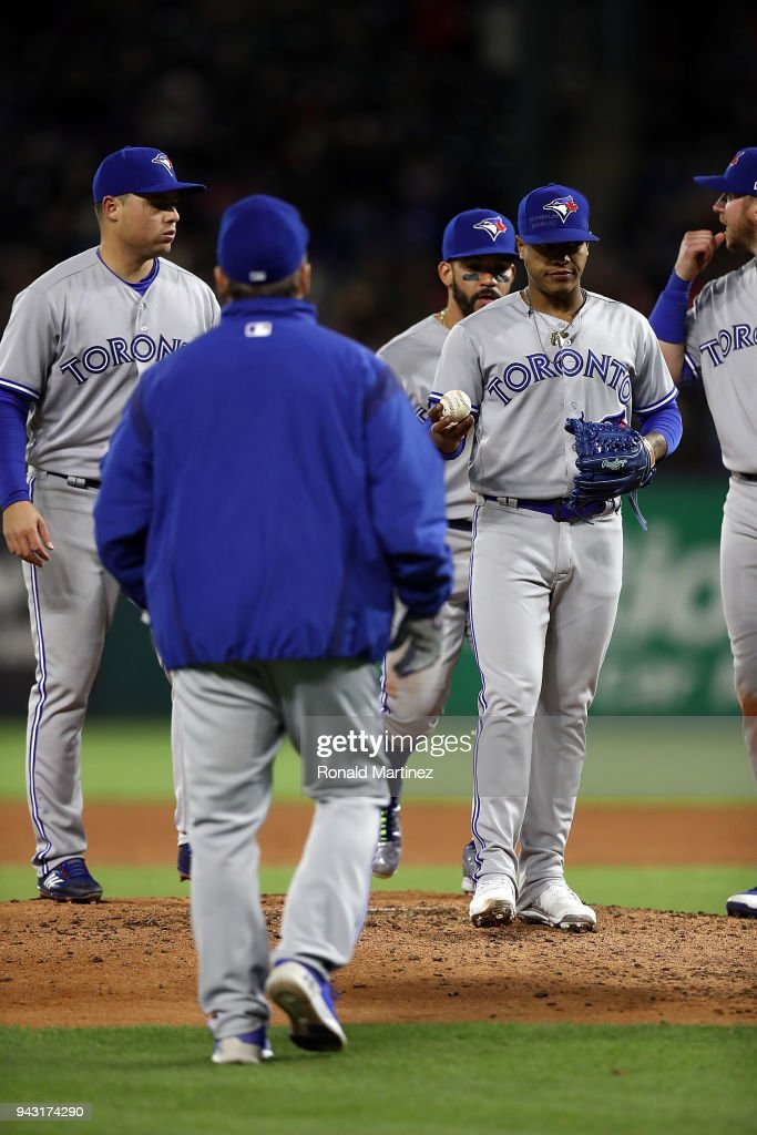 Marcus Stroman #6 of the Toronto Blue Jays leaves the game in the fifth inning against the Texas Rangers at Globe Life Park in Arlington on April 7, 2018 in Arlington, Texas.