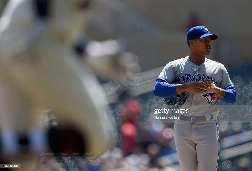Marcus Stroman #6 of the Toronto Blue Jays looks on as Eddie Rosario #20 of the Minnesota Twins rounds the bases after hitting a solo home run during the second inning of the game on May 2, 2018 at Target Field in Minneapolis, Minnesota. The Twins defeated the Blue Jays 4-0.
