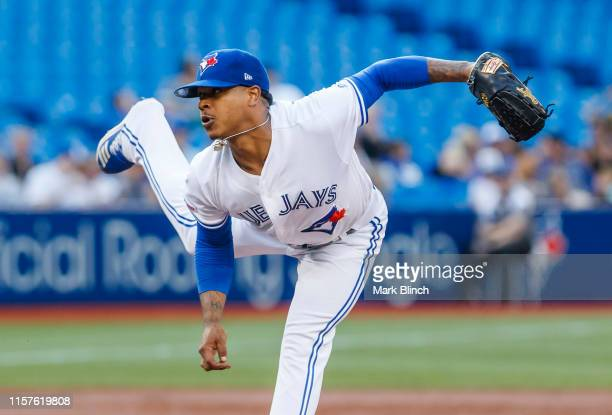 Marcus Stroman of the Toronto Blue Jays pitches against the Cleveland Indians in the third inning during their MLB game at the Rogers Centre on July...