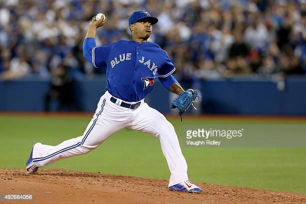 Marcus Stroman of the Toronto Blue Jays pitches against the Texas Rangers in game five of the American League Division Series at Rogers Centre on...
