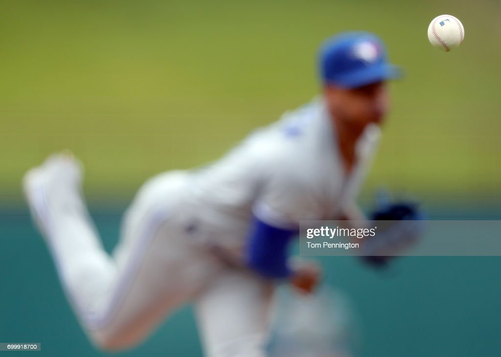 Marcus Stroman #6 of the Toronto Blue Jays pitches against the Texas Rangers in the bottom of the first inning at Globe Life Park in Arlington on June 22, 2017 in Arlington, Texas.