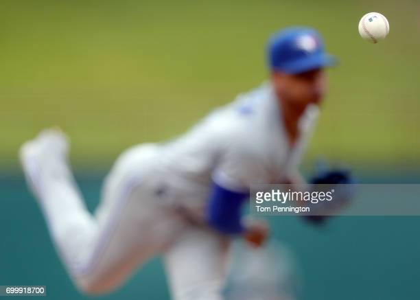Marcus Stroman of the Toronto Blue Jays pitches against the Texas Rangers in the bottom of the first inning at Globe Life Park in Arlington on June...
