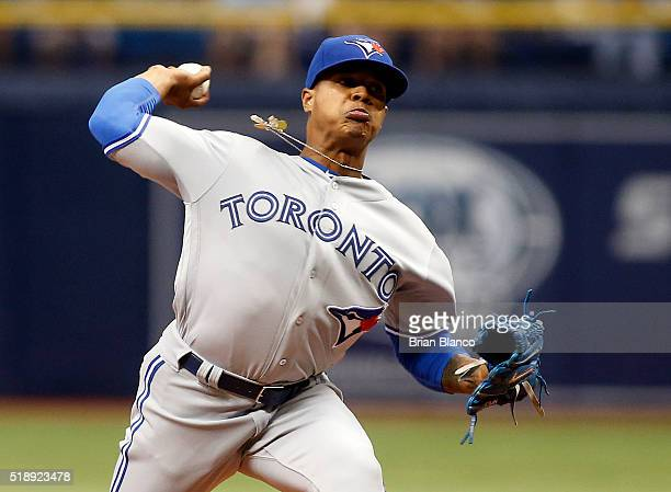 Marcus Stroman of the Toronto Blue Jays pitches during the first inning of a game against the Tampa Bay Rays on April 3 2016 at Tropicana Field in St...