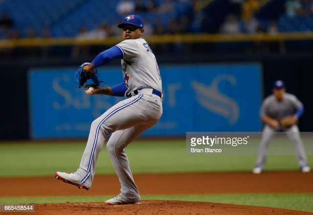 Marcus Stroman of the Toronto Blue Jays pitches during the first inning of a game against the Tampa Bay Rays on April 6 2017 at Tropicana Field in St...