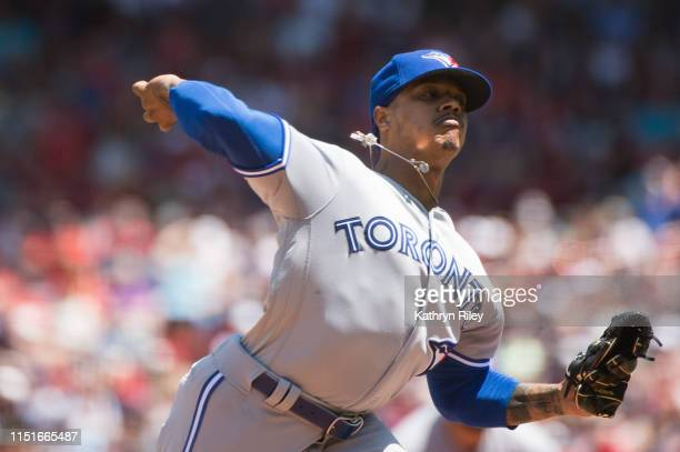 Marcus Stroman of the Toronto Blue Jays pitches in the first inning against the Boston Red Sox at Fenway Park on June 23 2019 in Boston Massachusetts