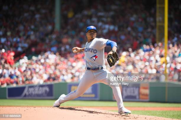 Marcus Stroman of the Toronto Blue Jays pitches in the first inning against the Boston Red Sox at Fenway Park on June 23, 2019 in Boston,...