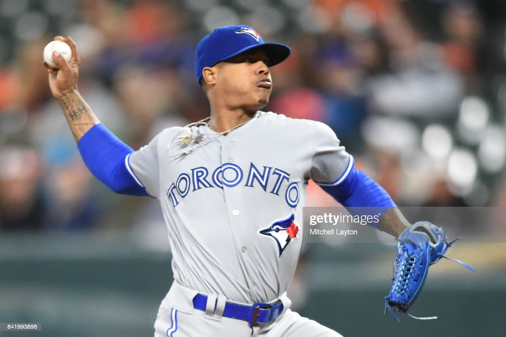 Marcus Stroman #6 of the Toronto Blue Jays pitches in the first inning during a baseball game against the Baltimore Orioles at Oriole Park at Camden Yards on September 2, 2017 in Baltimore, Maryland.