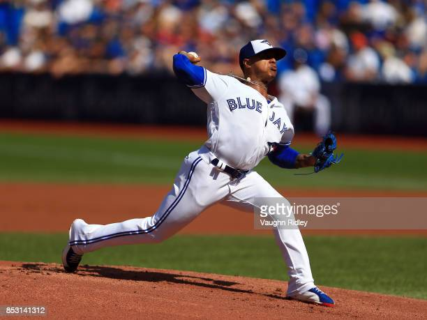 Marcus Stroman of the Toronto Blue Jays pitches in the first inning during MLB game action against the New York Yankees at Rogers Centre on September...