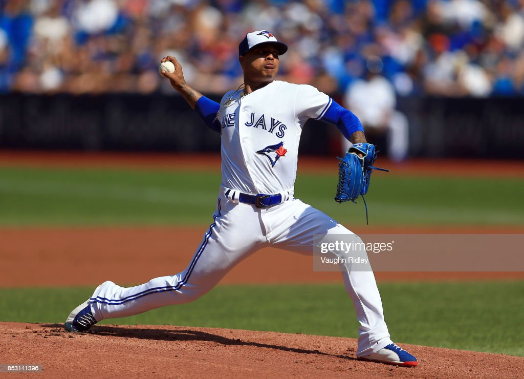 Marcus Stroman #6 of the Toronto Blue Jays pitches in the first inning during MLB game action against the New York Yankees at Rogers Centre on September 24, 2017 in Toronto, Canada.