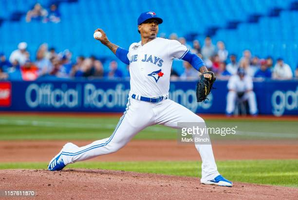 Marcus Stroman of the Toronto Blue Jays pitches to the Cleveland Indians in the first inning during their MLB game at the Rogers Centre on July 24,...