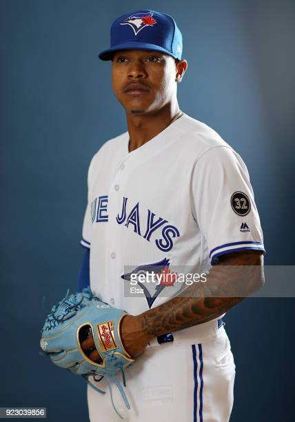 Marcus Stroman of the Toronto Blue Jays poses for a portrait on February 22 2018 at Dunedin Stadium in Dunedin Florida