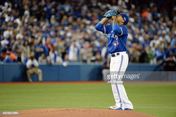 Marcus Stroman of the Toronto Blue Jays prepares to pitch during Game 5 of the ALDS against the Texas Rangers at the Rogers Centre on Wednesday...