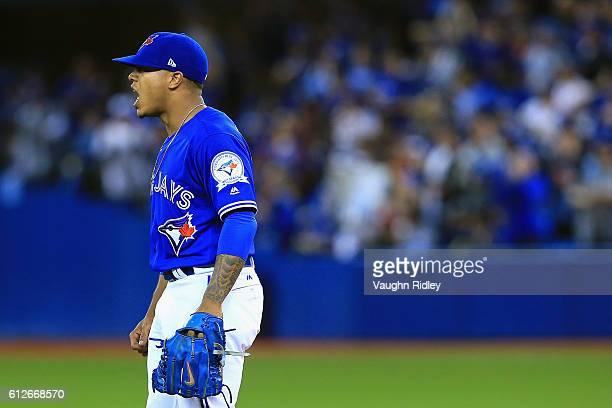 Marcus Stroman of the Toronto Blue Jays reacts after a defensive play by Troy Tulowitzki in the fifth inning against the Baltimore Orioles during the...