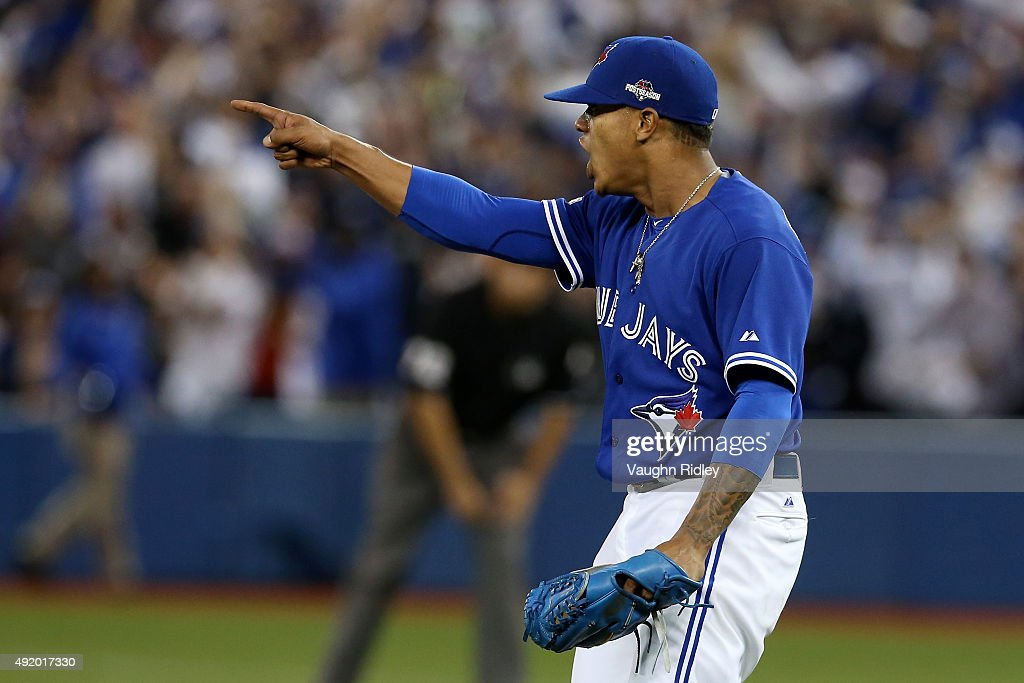 Marcus Stroman #6 of the Toronto Blue Jays reacts after a play to end the fifth inning against the Texas Rangers during game two of the American League Division Series at Rogers Centre on October 9, 2015 in Toronto, Canada.