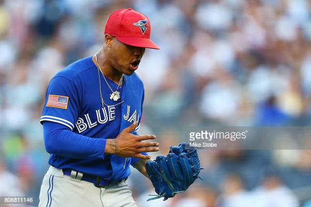 Marcus Stroman of the Toronto Blue Jays reacts after getting Ronald Torreyes of the New York Yankees to hit into an inning ending double play in th...