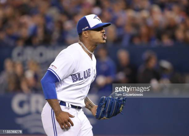 Marcus Stroman of the Toronto Blue Jays reacts after getting the final out of the first inning on Opening Day during MLB game action against the...