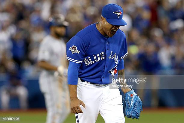 Marcus Stroman of the Toronto Blue Jays reacts after striking out Prince Fielder of the Texas Rangers to end the 5th inning in game five of the...