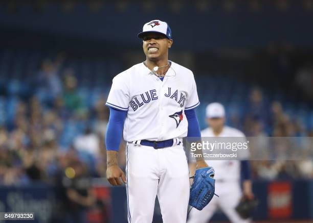 Marcus Stroman of the Toronto Blue Jays reacts after the Blue Jays narrowly missed turning a double play in the seventh inning during MLB game action...