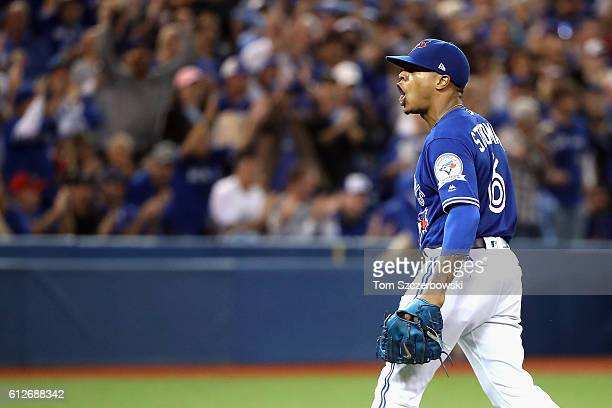 Marcus Stroman of the Toronto Blue Jays reacts after the final out in the sixth inning against the Baltimore Orioles during the American League Wild...