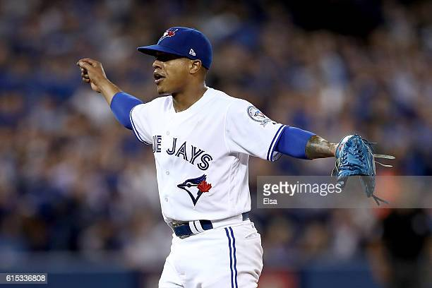 Marcus Stroman of the Toronto Blue Jays reacts against the Cleveland Indians during game three of the American League Championship Series at Rogers...