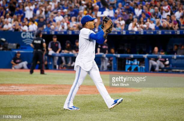 Marcus Stroman of the Toronto Blue Jays reacts as he walks to the dugout as he comes out of the game against Cleveland Indians in the seventh inning...