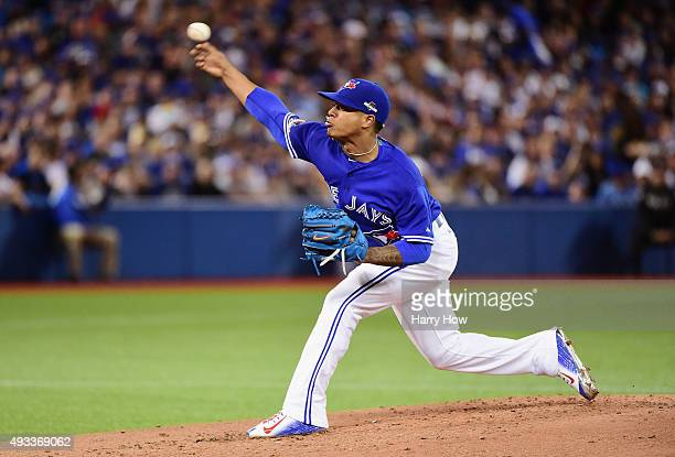 Marcus Stroman of the Toronto Blue Jays throws a pitch in the second inning against the Kansas City Royals during game three of the American League...