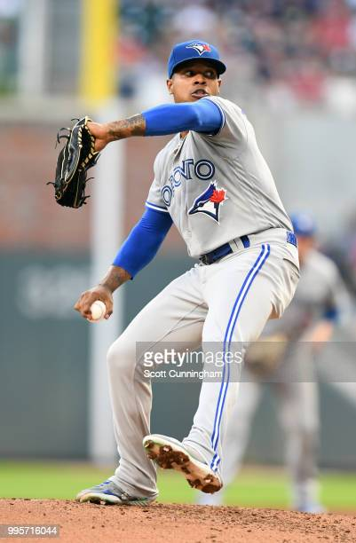 Marcus Stroman of the Toronto Blue Jays throws a second inning pitch against the Atlanta Braves at SunTrust Park on June 26 2018 in Atlanta Georgia