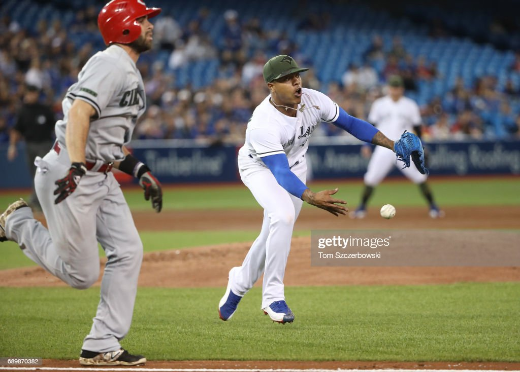 Marcus Stroman #6 of the Toronto Blue Jays tosses to throw out Jose Peraza #9 of the Cincinnati Reds at first base in the third inning during MLB game action at Rogers Centre on May 29, 2017 in Toronto, Canada.